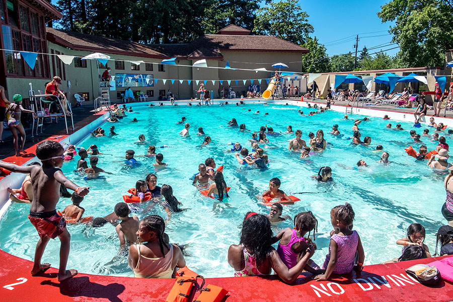 1 on one of the hottest days of the year free swim meant the peninsula park pool was at its capacity of 188 people a line of people waiting for a chance