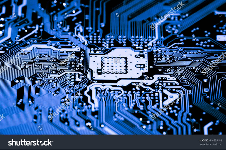 stock photo abstract close up of electronic circuits in technology on mainboard computer background logic 644555482