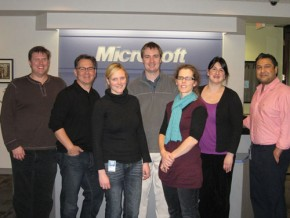 Photo of Portland Microsoft employees; from left: Bill Allen, Chuck Britton, Laurie Pottmeyer, Brian Lake, Sara Rice, Sarah Goodwin and Jeremiah Talkar. PHOTO COURTESY OF MICROSOFT
