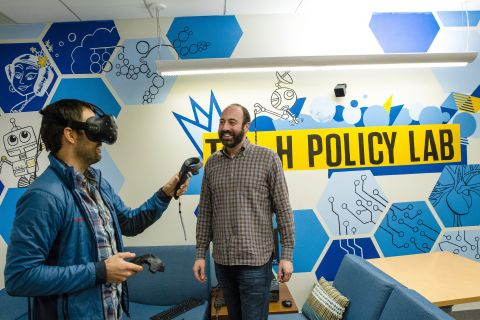 Professor Ryan Calo and student in the Tech Policy Lab at UW.
