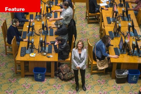 Multnomah County Library director Vailey Oehlke in the busy periodicals room in the Central Library in downtown Portland