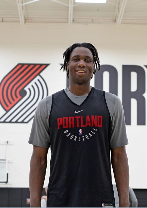 Swanigan at the Trail Blazers' practice gym in Tualatin