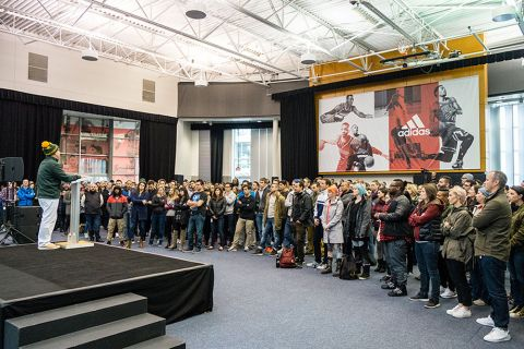 Flying high: Adidas Group North America president Mark King during an employee meeting (December 2015)