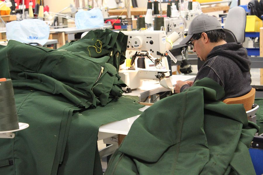 A Cascade Fire Equipment employee in the company's industrial sewing facility, Medford