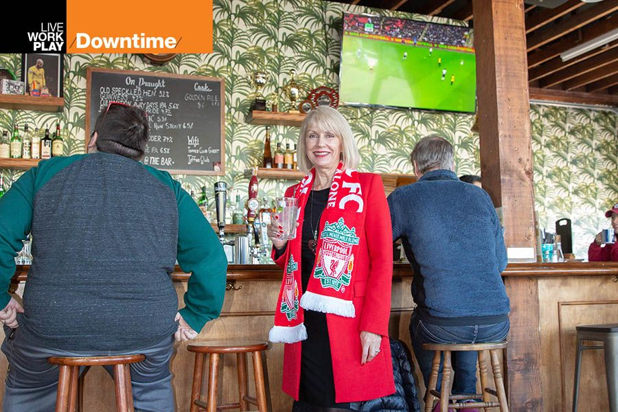 Tracy Curtis, Oregon and Southwest Washington region president of Wells Fargo, pictured at the Toffee Club soccer pub in Portland
