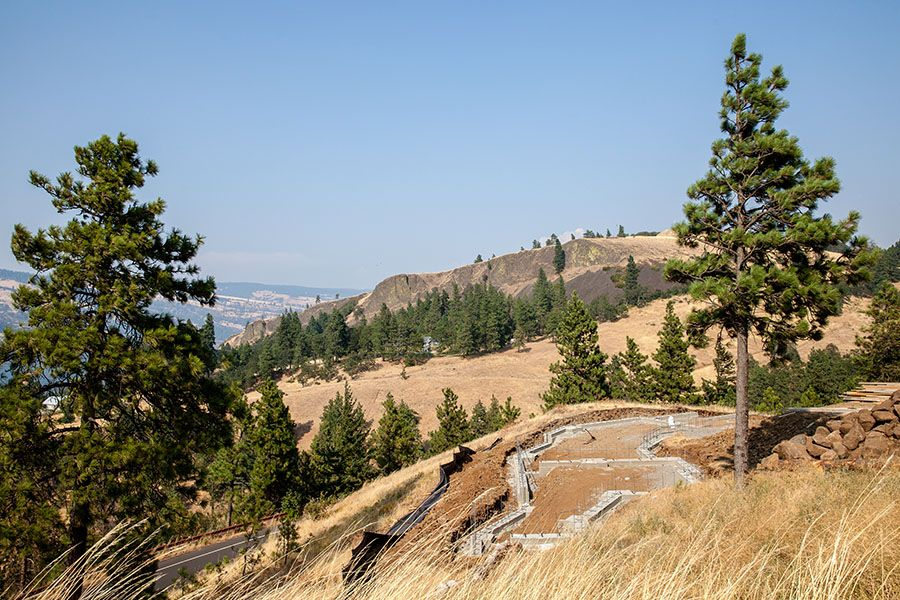 The foundation for a new custom home in Mosier Bluffs
