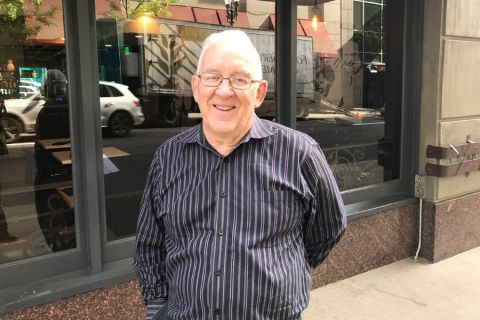 Ron Buel, managing member, Dank Bros. LLC, outside the Il Solito restaurant in the Hotel Vintage Portland