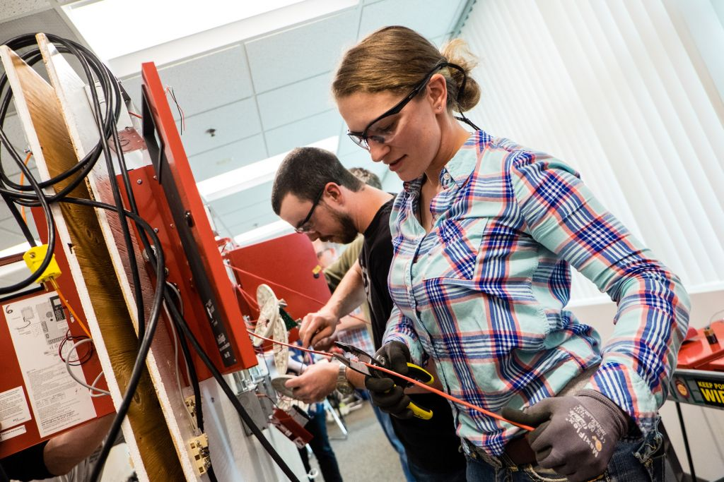 Apprentices At NECA IBEW Training Center Work On Addressable Fire Alarm Systems