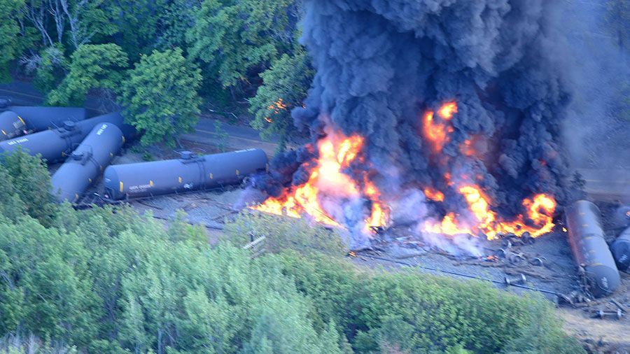 The oil train derailment in Mosier, June 3, 2016.